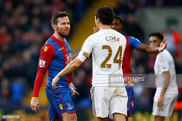 Jack Cork of Swansea City and Yohan Cabaye of Crystal Palace argue during the Barclays Premier League match between Crystal Palace and Swansea City...