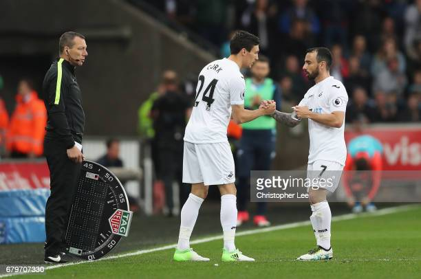 Jack Cork of Swansea City comes on for Leon Britton of Swansea City during the Premier League match between Swansea City and Everton at the Liberty...