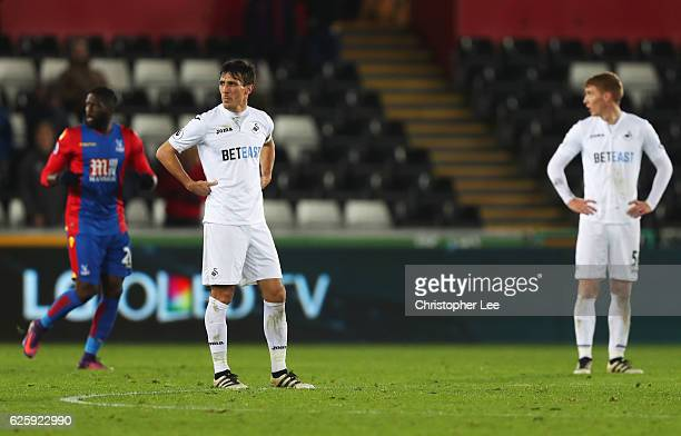 Jack Cork of Swansea City shows his dejection after Crystal Palace's fourth goal during the Premier League match between Swansea City and Crystal...