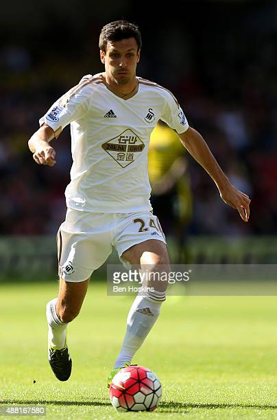 Jack Cork of Swansea in action during the Barclays Premier League match between Watford and Swansea City at Vicarage Road on September 12 2015 in...
