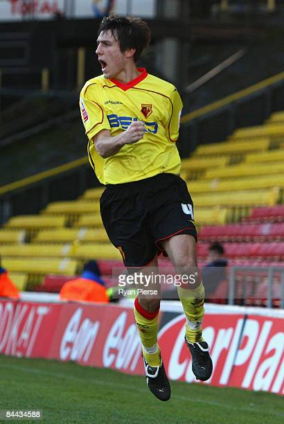 Jack Cork of Watford celebrates after he scored his teams second goal during the FA Cup 4th Round match between Watford and Crystal Palace at...