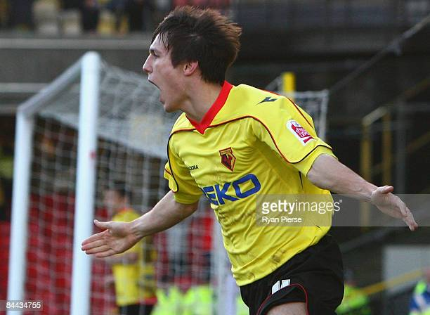 Jack Cork of Watford celebrates after he scored his team's second goal during the FA Cup 4th Round match between Watford and Crystal Palace at...