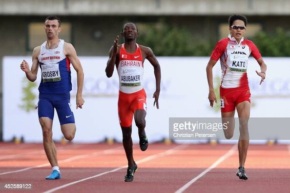 Jack Crosby of Great Britain Abbas Abubakar Abbas of Bahrain and Nobuya Kato of Japan compete in the men's 400m semifinal during day two of the IAAF...