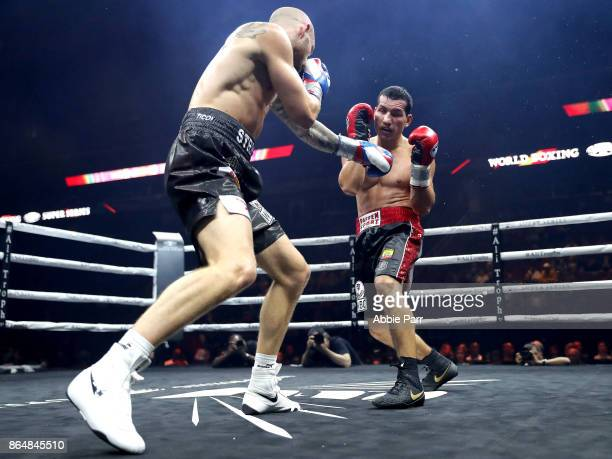 Jack Culcay and Maciej Sulecki fight during their Super Welter Weights fight at Prudential Center on October 21 2017 in Newark New Jersey