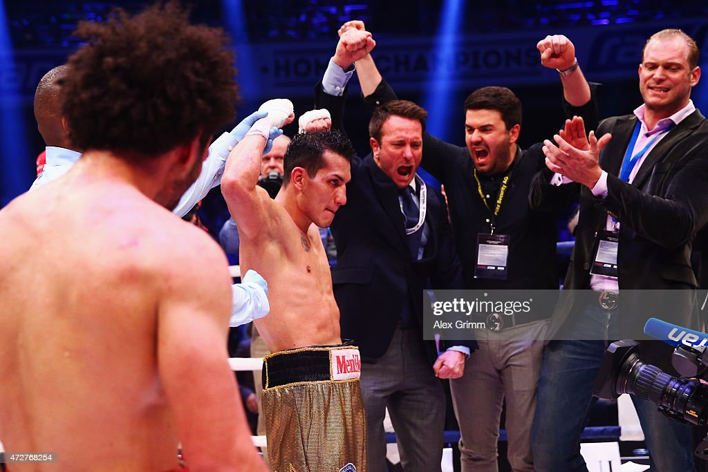 Jack Culcay of Germany celebrates after winning his WBA super welterweight interim World Championship fight against Maurice Weber of Germany prior to...