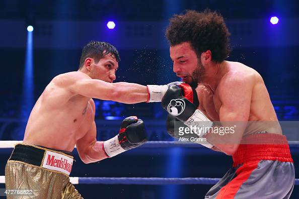 Jack Culcay of Germany delivers a punch to Maurice Weber of Germany during their WBA super welterweight interim World Championship fight prior to the...