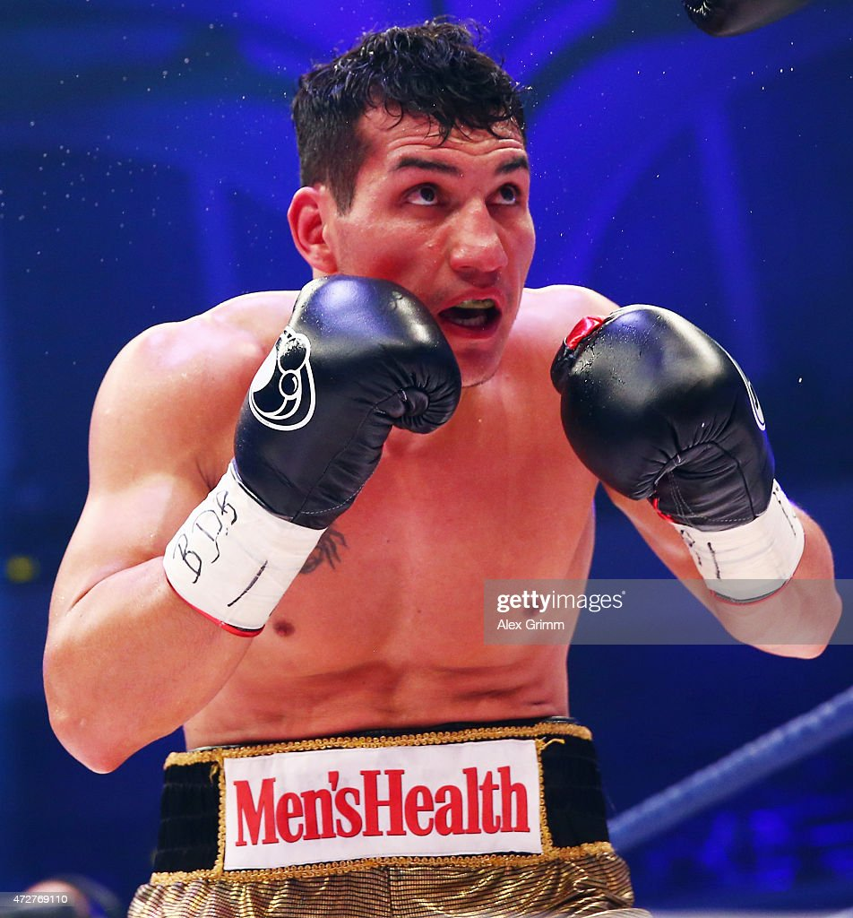 Jack Culcay of Germany in action during his WBA super welterweight interim World Championship fight against Maurice Weber of Germany prior to the WBA...