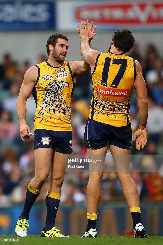 Jack Darling and Josh Kennedy of the Eagles celebrate a goal during the round 10 AFL match between the West Coast Eagles and the Gold Coast Suns at Domain Stadium on May 29, 2016 in Perth, Australia.