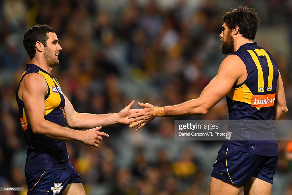 Jack Darling and Josh Kennedy of the Eagles celebrates a goal during the 2016 AFL Round 14 match between the West Coast Eagles and the Essendon Bombers at Domain Stadium on June 30, 2016 in Perth, Australia.
