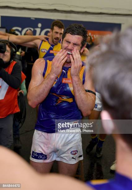 Jack Darling gets showered during the team song during the AFL First Elimination Final match between Port Adelaide Power and West Coast Eagles at...