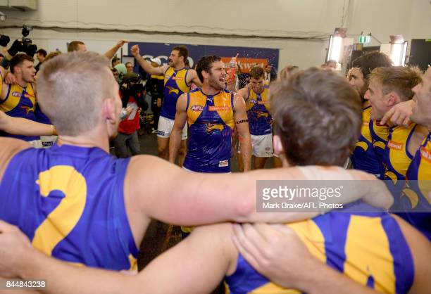 Jack Darling gets showered in Gaterade during the team song after the AFL First Elimination Final match between Port Adelaide Power and West Coast...
