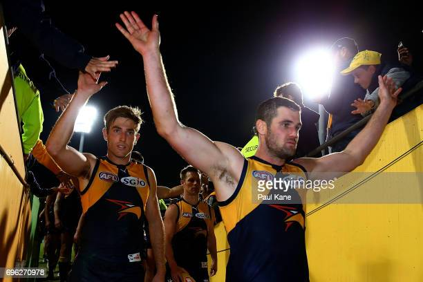 Jack Darling of the Eagles acknowledges supporters while from the field during the round 13 AFL match between the West Coast Eagles and the Geelong...