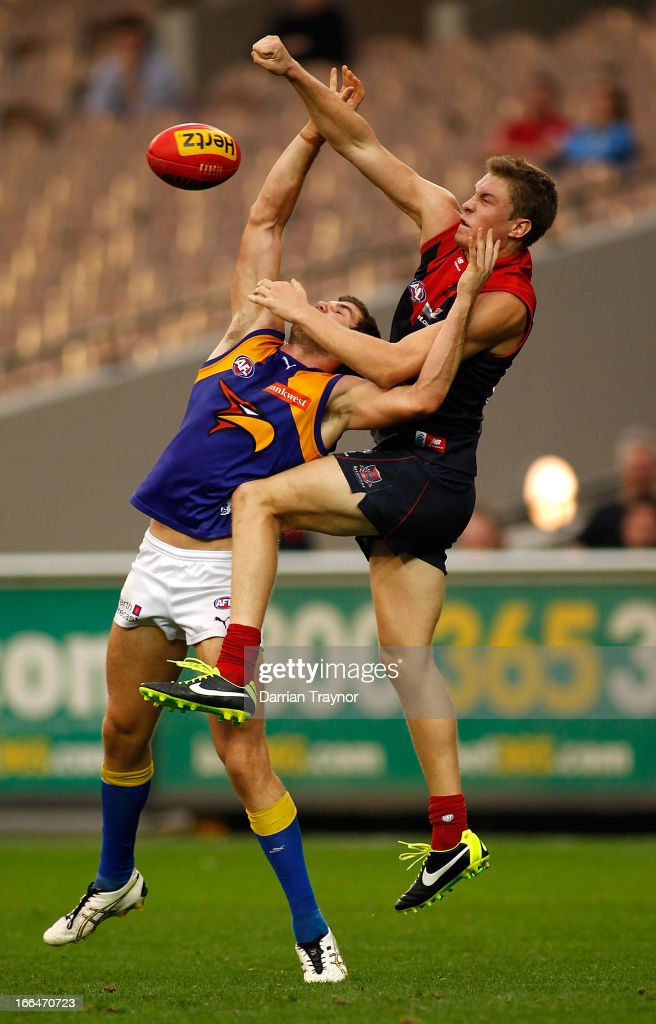 Jack Darling of the Eagles and Tom McDonald of the Demons contest the ball during the round three AFL match between the Melbourne Demons and the West Coast Eagles at Melbourne Cricket Ground on April 13, 2013 in Melbourne, Australia.