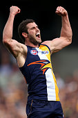 Jack Darling of the Eagles celebrates a goal during the round 11 AFL match between the West Coast Eagles and the Essendon Bombers at Domain Stadium...
