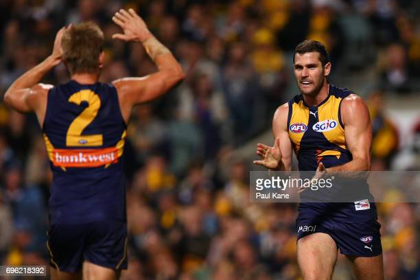 Jack Darling of the Eagles celebrates a goal during the round 13 AFL match between the West Coast Eagles and the Geelong Cats at Domain Stadium on...