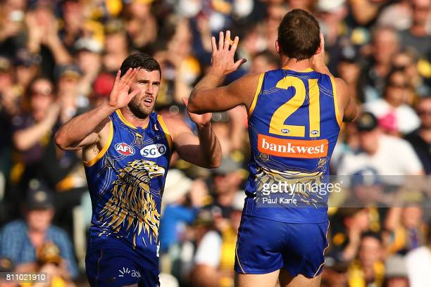 Jack Darling of the Eagles celebrates a goal during the round 16 AFL match between the West Coast Eagles and the Port Adelaide Power at Domain...
