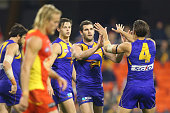 Jack Darling of the Eagles celebrates a goal during the round 18 AFL match between the Gold Coast Suns and the West Coast Eagles at Metricon Stadium...