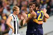 Jack Darling of the Eagles celebrates a goal with Andrew Gaff during the round six AFL match between the West Coast Eagles and the Collingwood...