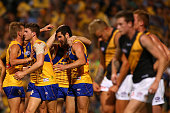 Jack Darling of the Eagles celebrates a goal with team mates during the round four AFL match between the West Coast Eagles and the Richmond Tigers at...