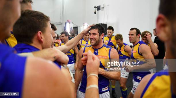 Jack Darling of the Eagles celebrates with his team mates after during the AFL First Elimination Final match between Port Adelaide Power and West...