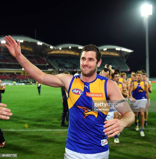 Jack Darling of the Eagles celebratesas he walks from the field during the AFL First Elimination Final match between Port Adelaide Power and West...