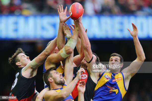 Jack Darling of the Eagles competes for the ball during the round nine AFL match between the Essendon Bombers and the West Coast Eagles at Etihad...