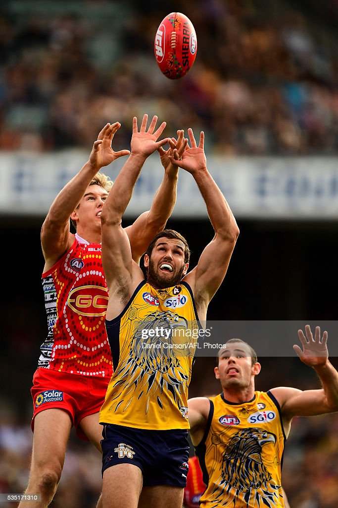 Jack Darling of the Eagles contest a mark with Tom Lynch of the Suns during the 2016 AFL Round 10 match between the West Coast Eagles and the Gold Coast Suns at Domain Stadium on May 29, 2016 in Perth, Australia.