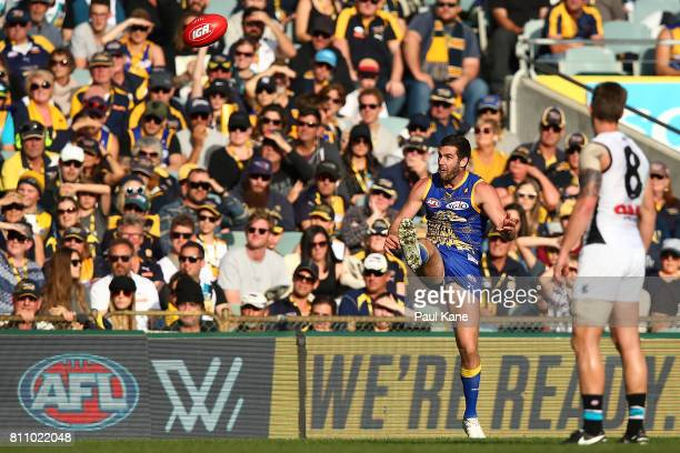 Jack Darling of the Eagles kicks on goal during the round 16 AFL match between the West Coast Eagles and the Port Adelaide Power at Domain Stadium on...