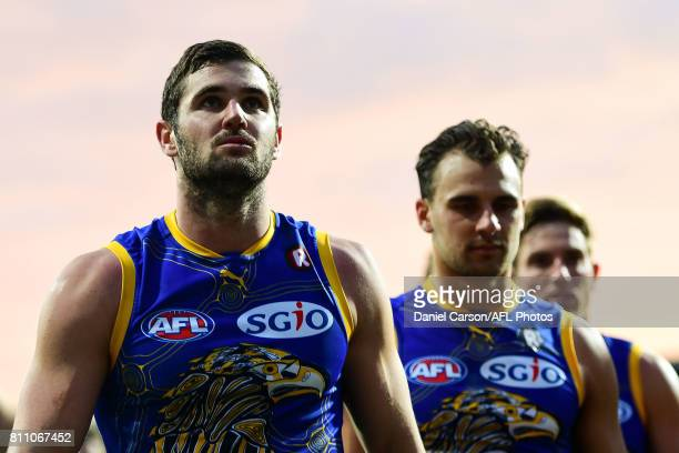 Jack Darling of the Eagles leaves the arena after the loss during the 2017 AFL round 16 match between the West Coast Eagles and the Port Adelaide...
