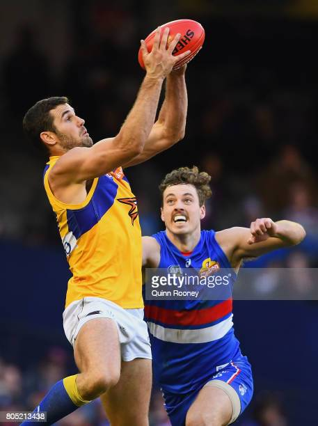 Jack Darling of the Eagles marks infront of Zaine Cordy of the Bulldogs during the round 15 AFL match between the Western Bulldogs and the West Coast...