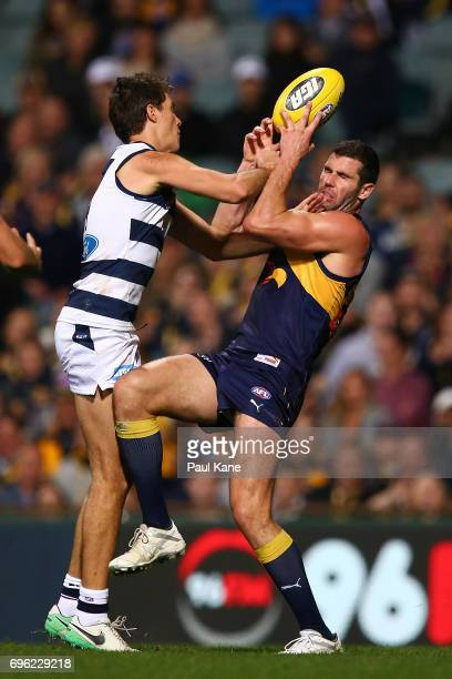 Jack Darling of the Eagles marks the ball against Andrew Mackie of the Cats during the round 13 AFL match between the West Coast Eagles and the...
