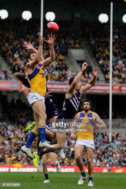 Jack Darling of the Eagles marks the ball during the round 17 AFL match between the Fremantle Dockers and the West Coast Eagles at Domain Stadium on...