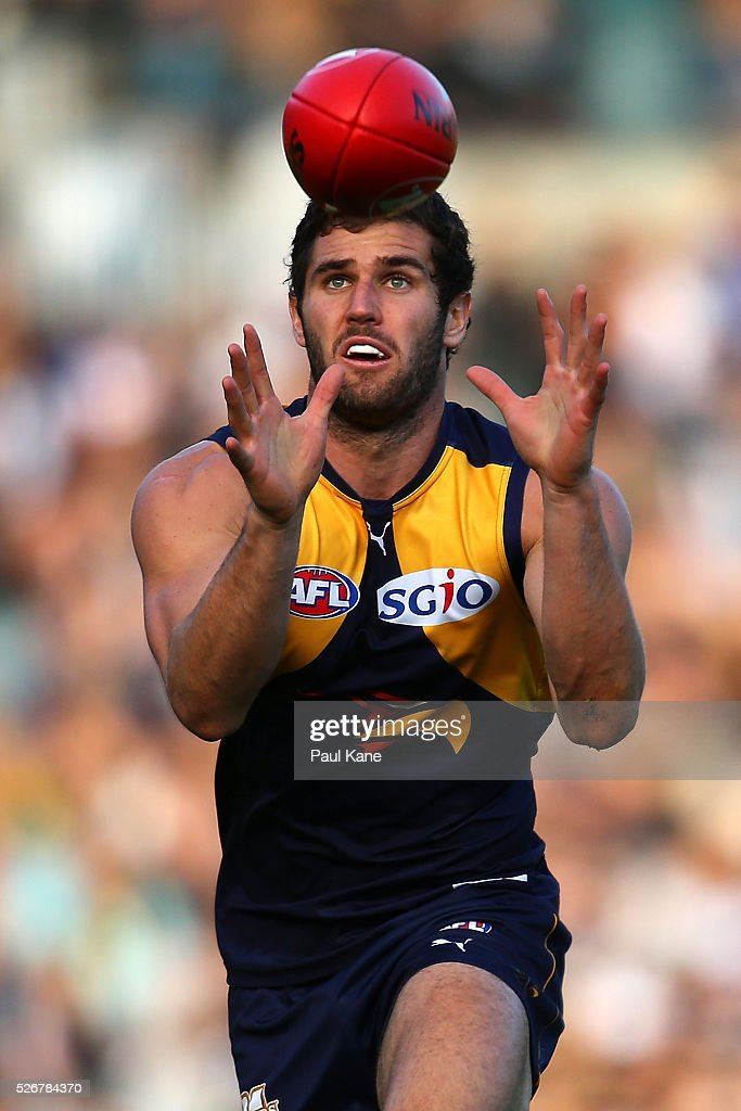 Jack Darling of the Eagles marks the ball during the round six AFL match between the West Coast Eagles and the Collingwood Magpies at Domain Stadium on May 1, 2016 in Perth, Australia.