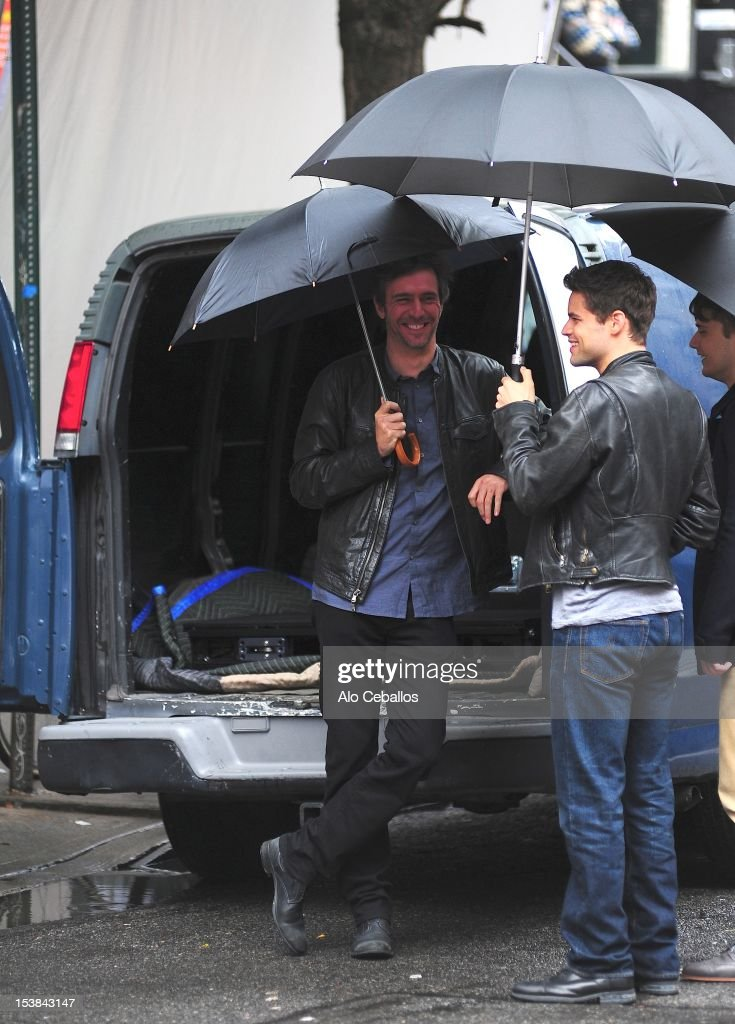 Jack Davenport and Jeremy Jordan are seen on the set of 'Smash' on October 9, 2012 in New York City.