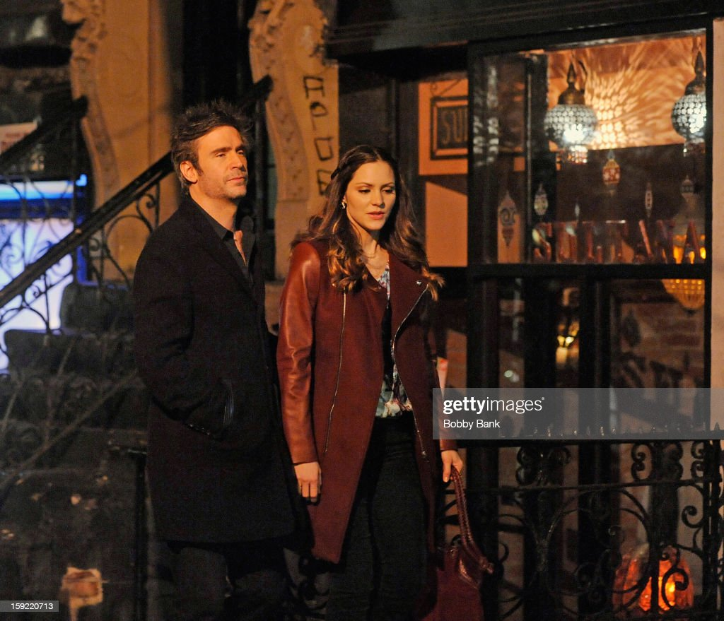 Jack Davenport and Katharine McPhee filming on location for 'Smash' on January 9 2013 in New York City