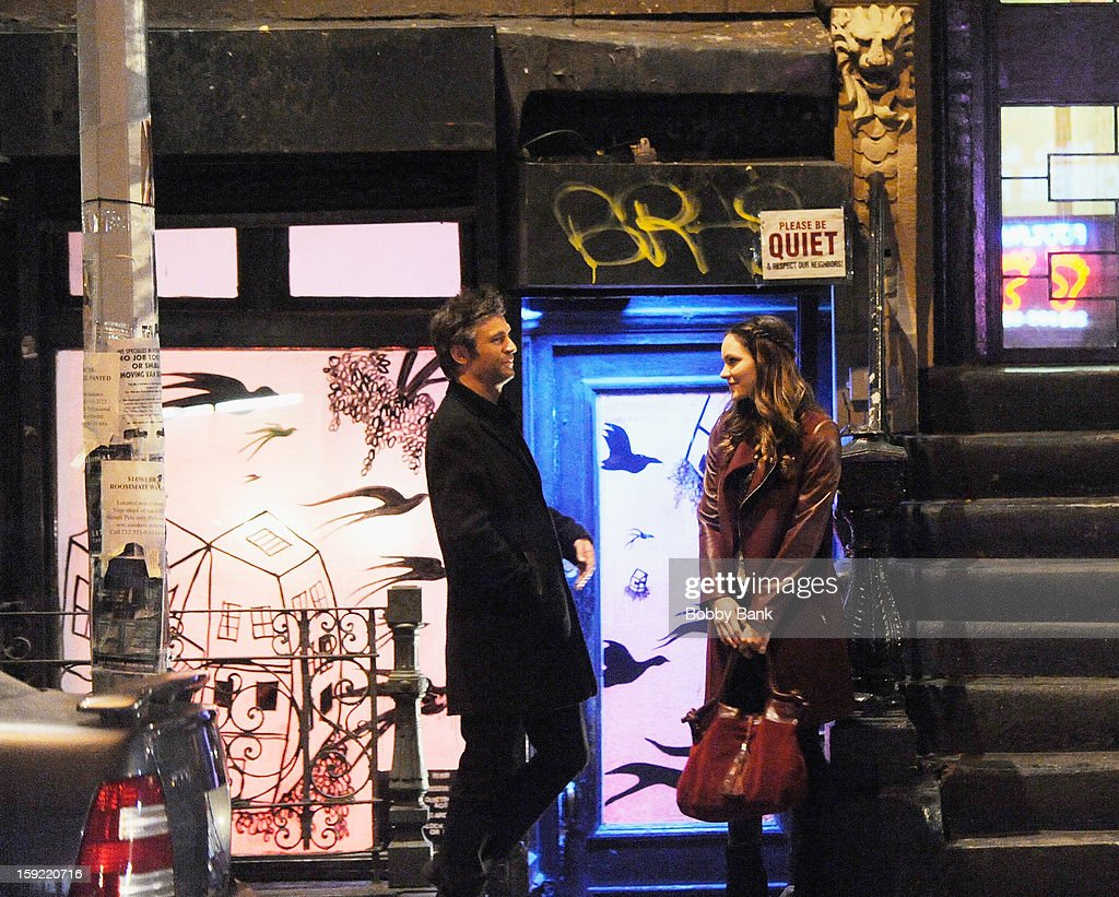Jack Davenport and Katharine McPhee filming on location for 'Smash' on January 9, 2013 in New York City.