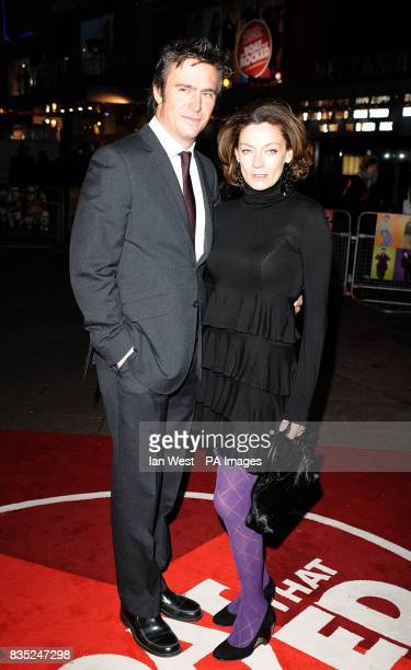 Jack Davenport and Michelle Gomez arriving for the premiere of The Boat That Rocked at the Odeon Leicester Square London
