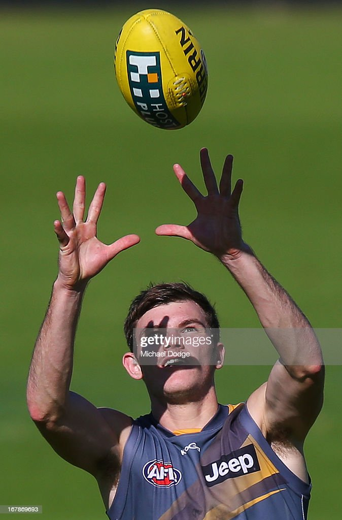 Jack David Astbury marks the ball during a Richmond Tigers AFL training session at ME Bank Centre on May 2, 2013 in Melbourne, Australia.