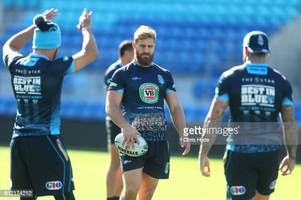 Jack de Belin looks on during the New South Wales Blues State of Origin training session at Cbus Super Stadium on July 11 2017 in Gold Coast Australia