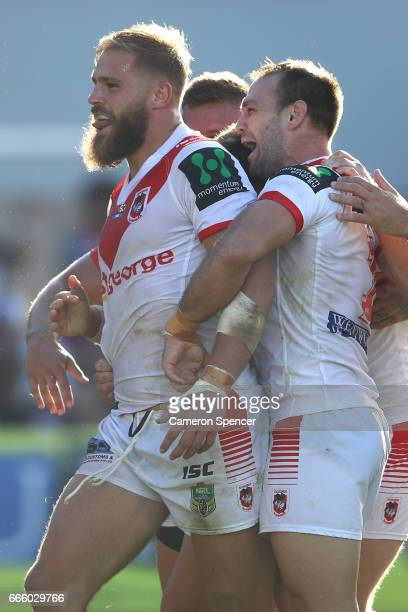 Jack De Belin of the Dragons celebrates scoring a try during the round six NRL match between the Manly Sea Eagles and the St George Illawarra Dragons...