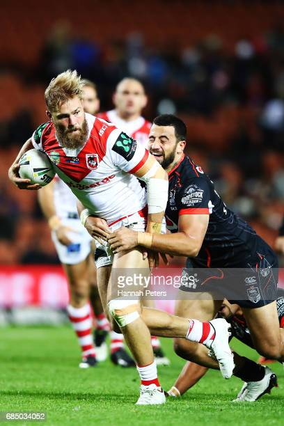 Jack de Belin of the Dragons charges forward during the round 11 NRL match between the New Zealand Warriors and the St George Illawarra Dragons at...