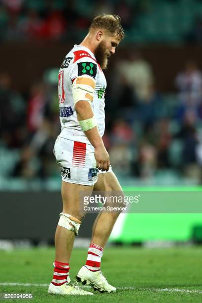 Jack de Belin of the Dragons looks dejected after losing the round 22 NRL match between the St George Illawarra Dragons and the South Sydney...