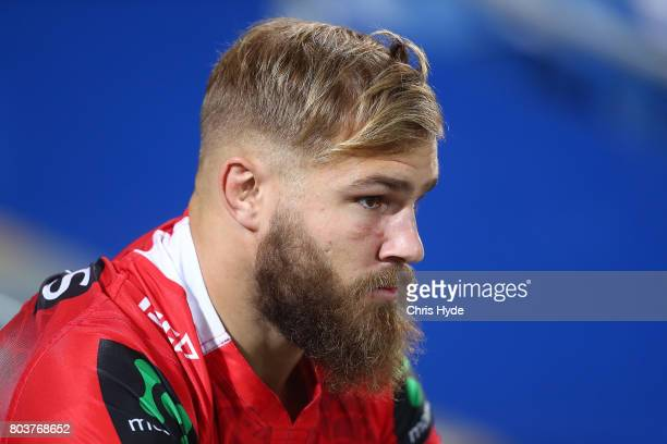 Jack de Belin of the Dragons looks on before the round 17 NRL match between the Gold Coast Titans and the St George Illawarra Dragons at Cbus Super...