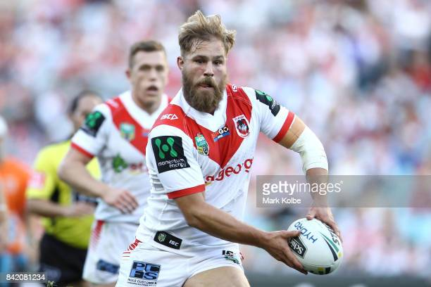 Jack de Belin of the Dragons runs the ball during the round 26 NRL match between the St George Illawarra Dragons and the Canterbury Bulldogs at ANZ...