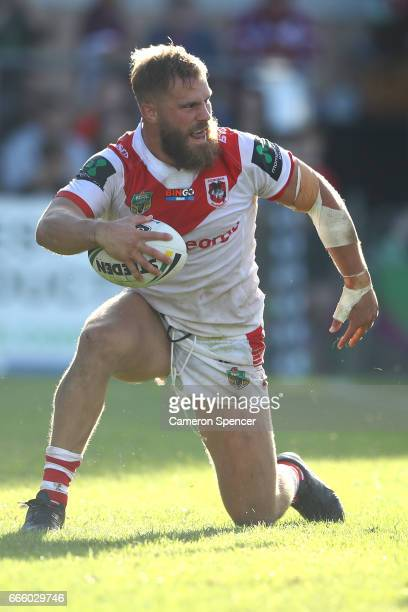 Jack De Belin of the Dragons scores a try during the round six NRL match between the Manly Sea Eagles and the St George Illawarra Dragons at...