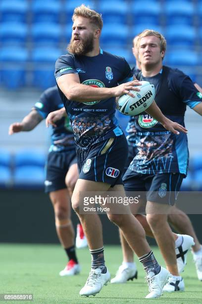 Jack De Belin runs the ball during the New South Wales Blues State of Origin captain's run at Cbus Super Stadium on May 30 2017 in Gold Coast...