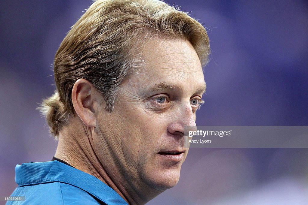 Jack Del Rio the Head Coach of the Jacksonville Jaguars watches his team practice before the game against the Indianapolis Colts at Lucas Oil Stadium on November 13, 2011 in Indianapolis, Indiana.