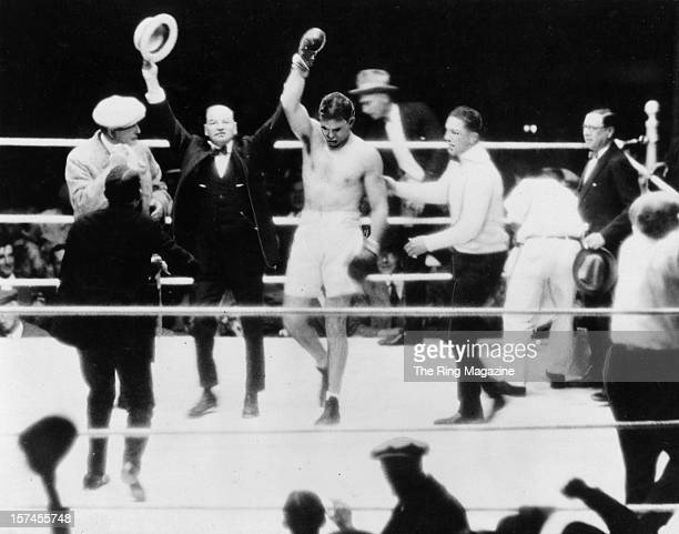 Jack Dempsey celebrates after winning the fight against Luis Angel Firpo at the Polo Groundson September 14 1923 in New York New York Jack Dempsey...