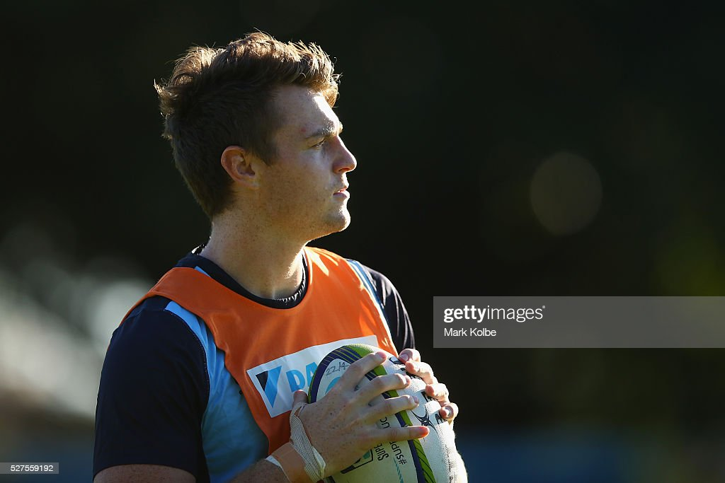 Jack Dempsey looks on during a Waratahs Super Rugby training session at Kippax Lake on May 3, 2016 in Sydney, Australia.