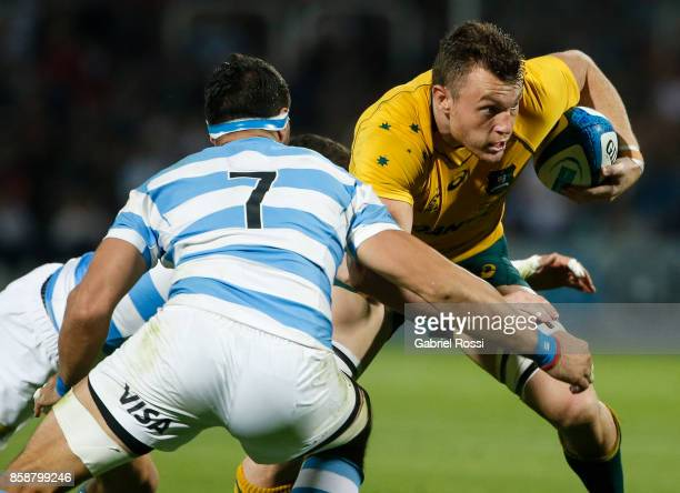 Jack Dempsey of Australia is tackled by Javier Ortega Desio of Argentina during The Rugby Championship match between Argentina and Australia at...